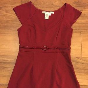 Max Studio Burgundy Maroon Cap Sleeve Dress